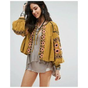 Free People Embroidered Swingy Boho Trophy Jacket